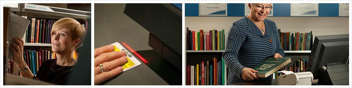 Situationsbilleder af personer der bruger biblioteket