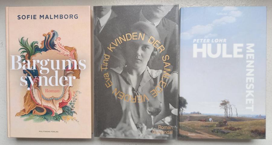 Foto af romanerne 'Bargums synder', 'Kvinden der samlede verden' og 'Hulemennesket'