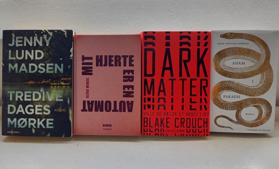 Foto af de fire bøger, som bibliotekaren anbefaler