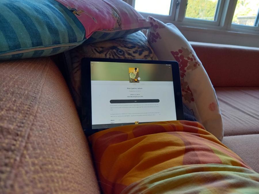 Foto af iPad, hvor der på eRolen er fundet romanen Hvor lyset er