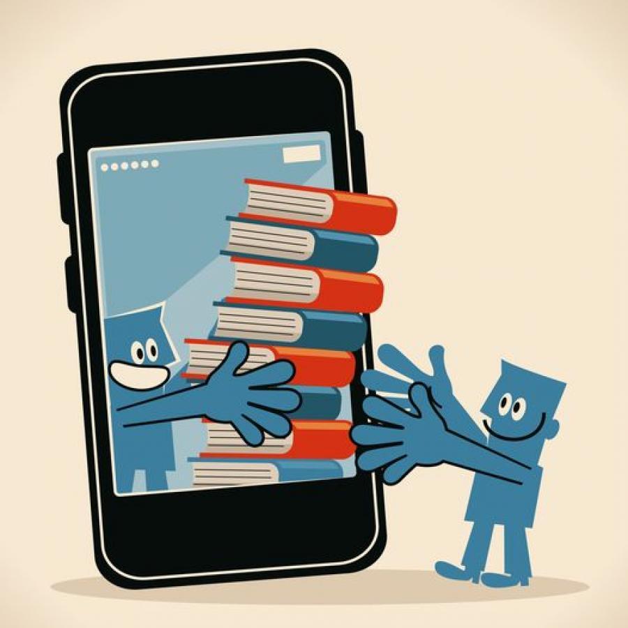 Tegning af smartphone, der giver bøger ud